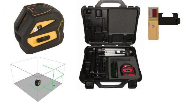 Křížový laser FKD EK-118G se zeleným paprskem + přijímač FD-9