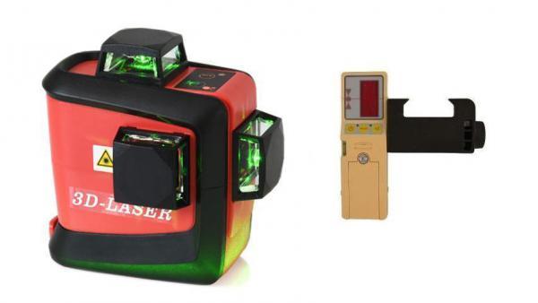 Křížový laser FKD MW-93T 3 x 360 + přijímač - zelený paprsek